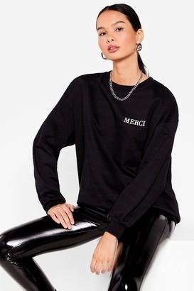 Nasty Gal Womens Merci Pocket Graphic Oversized Sweatshirt - Black