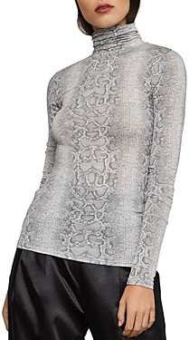 BCBGMAXAZRIA Snake Print Turtleneck Top