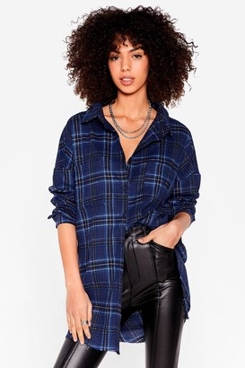 Nasty Gal Womens Plaid a Good Impression Oversized Shirt - Brown - 4
