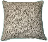 The Well Appointed House Cub Fossil Spotted Brown Designer Pillow With Aqua Flange