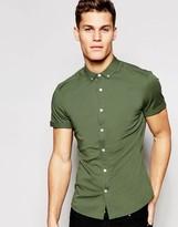 Asos Skinny Shirt In Khaki Twill With Short Sleeves
