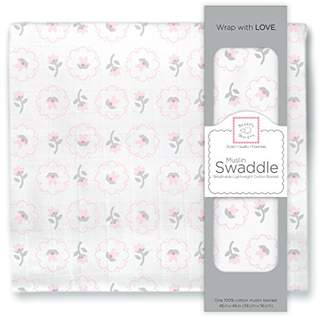 Swaddle Designs X-Large Cotton Muslin Swaddle Blanket, Pink Cherry Trees