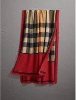 Burberry Contrast Border Horseferry Check Cashmere Scarf, Red