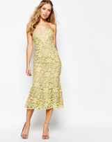 Jarlo Plunge Neck Midi Dress In All Over Lace