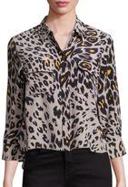 Equipment Cropped Three-Quarter Sleeve Signature Cheetah Silk Blouse