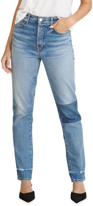 Veronica Beard Jeans Ryleigh High-Rise Patched Straight-Leg Jeans