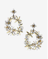 Express floral stone circle drop earrings