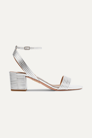 Aquazzura Sundance 50 Metallic Faux Leather Sandals - Silver