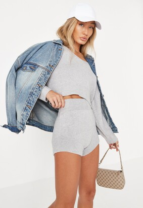 Missguided Grey Co Ord Knitted Shorts
