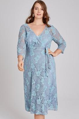 Little Mistress Curvy Alexina Two Tone Lace Wrap Midi Dress