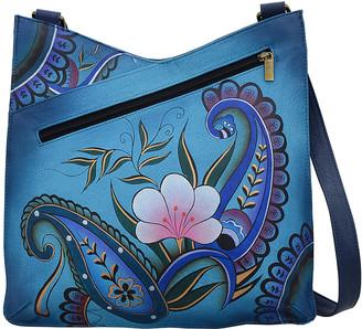 Anuschka Anna By Anna by Women's Handbags Denim - Denim Paisley Floral Hand-Painted V-Top Leather Crossbody Bag