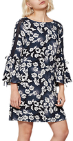 Mint Velvet Cecilia Butterfly Print Flared Sleeve Dress, Ink/Ivory
