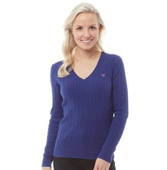 Crew Clothing Womens Cotton Cable V-Neck Jumper Navy