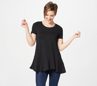 Logo by Lori Goldstein Short Sleeve Knit Top with Asymmetric Hem