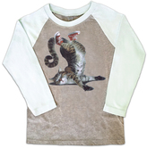 Micro Me Aqua Cat on Face Raglan Tee - Toddler & Girls