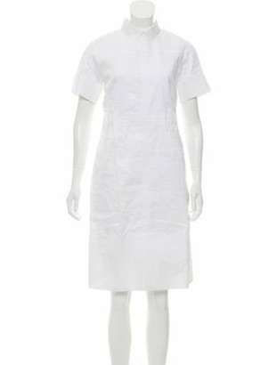 Celine Collared Shirt Dress White