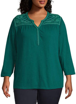 ST. JOHN'S BAY Plus Womens Y Neck Long Sleeve Embroidered Blouse