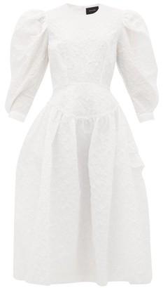 Simone Rocha Puff-sleeve Cloque Midi Dress - Womens - White
