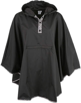 Capelli New York Women's Rain Coats Black - Black Paisley Hoodie Rain Poncho - Women