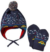 Paul Smith Blue Car Knitted Bobble Hat and Mittens