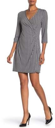 Laundry by Shelli Segal Faux Wrap 3/4 Length Sleeve Dress