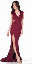 Terani Couture Crepe Satin V-Neck Evening Gown