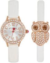 Betsey Johnson Women's White Imitation Leather Strap Watch & Bracelet Set 30mm BJ00536-38