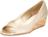 Cole Haan Elsie Leather Open-Toe Wedge Pump, Gold