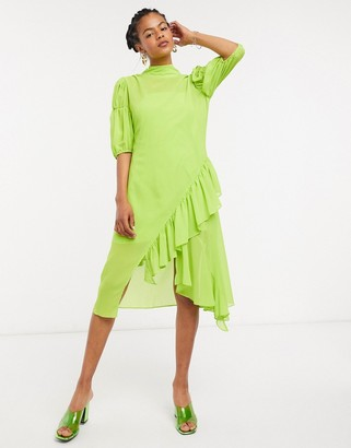 Lost Ink high neck midi smock dress with ruffle in sheer