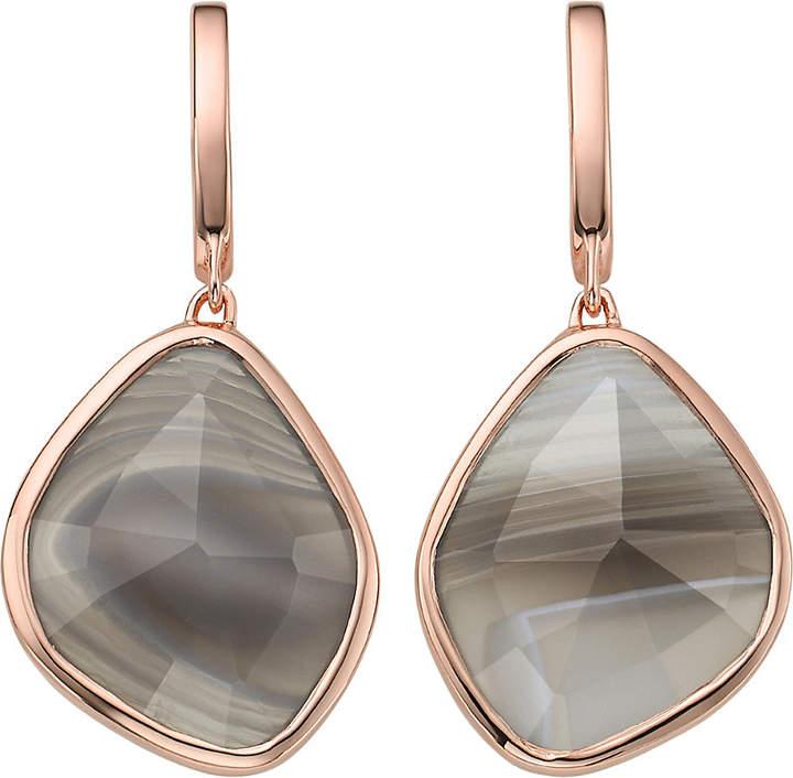 Monica Vinader Siren 18ct rose-gold vermeil grey agate stud earrings
