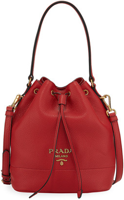 Prada Daino Bucket Bag w/ Removable Web & Leather Straps