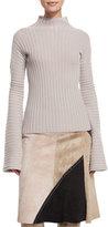 Derek Lam Ribbed Turtleneck Sweater, Quartz