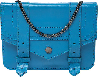 Proenza Schouler Blue Leather Large PS1 Chain Clutch