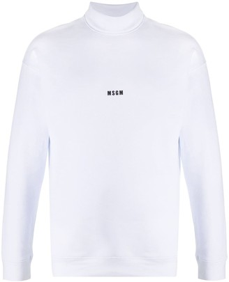 MSGM Logo-Print Roll-Neck Sweatshirt