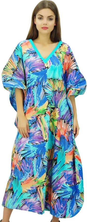 Bimba Women/'s Floral Cotton Kaftan Kimono Sleeve Coverup Pink Maxi Caftan