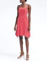 Banana Republic Stripe Strappy Handkerchief Hem Fit-and-Flare Dress