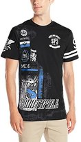 Southpole Men's Short Sleeve Tee with Logo and Patch Like Graphics