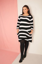 Yours Clothing Black & White Stripe Knitted Tunic With Pockets