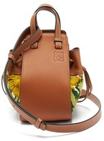 Loewe Hammock Mini Floral-embroidered Leather Bag - Womens - Yellow Multi