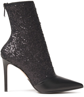 Balmain Sequined Woven And Leather Ankle Boots