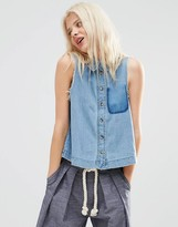 Asos Denim Sleeveless Shirt with Raw Edge and Shadow Pocket