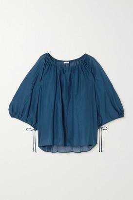 Skin Bianca Gathered Cotton-voile Blouse - Cobalt blue