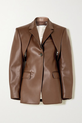 Peter Do Convertible Faux Leather Blazer - Brown