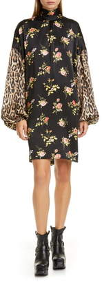 R 13 Mixed Print Long Sleeve Tie Neck Silk Dress