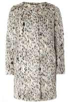Animal Print Collarless Fur Coat