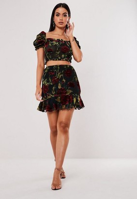 Missguided Black Co Ord Floral Devore Frill Hem Skirt