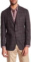 Peter Millar Napoli Grey Windowpane 2 Button Notch Lapel Wool Jacket