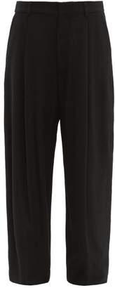 Raey Wide-leg Crosshatch Silk-blend Trousers - Womens - Black
