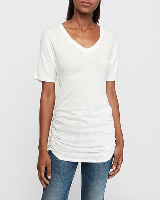 Express V-Neck Dolman Sleeve Ruched Tee