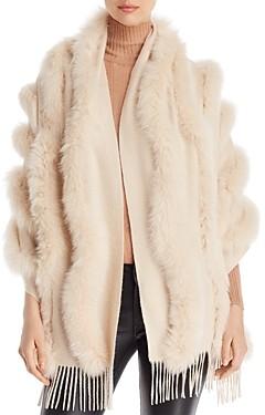 Maximilian Furs Fox Fur Trim Cashmere Stole